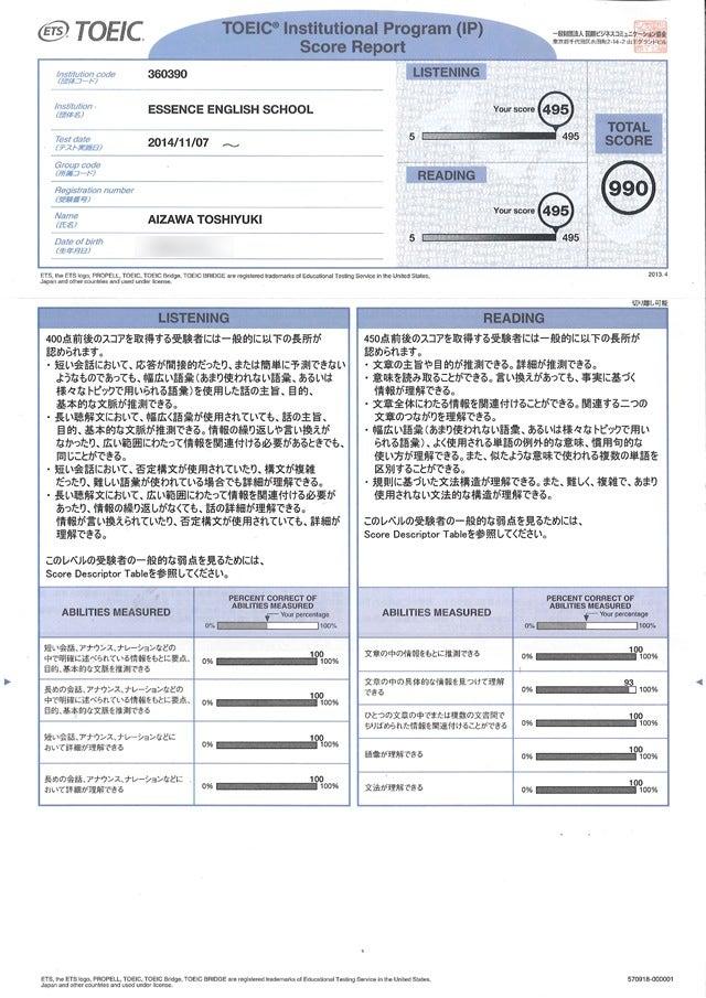 11月TOEIC IPテストのスコアシート公開 - 英語講師 相澤俊幸 (blog)